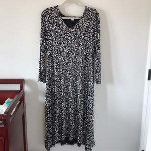 Black and white floral midi swing dress